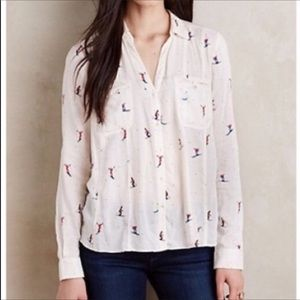 Anthropologie-Maeve-Novelty Skiing Button Down